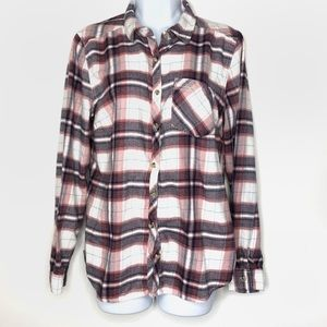 Maurices Flannel Pink and Navy Size Medium